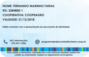 Carteirinha Programa de descontos - OCB-am (Costa)